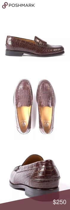Paul Smith women's croc leather 'Lennox' loafer Crafted from mock croc calf leather with subtle fringe detailing on the uppers, these brown 'Lennox' loafers feature hand-stitched seams, moccasin toes, and stacked leather soles with navy rubber inserts for extra grip. 	•	Flat leather rands 	•	Cushioned leather footbeds with foil-embossed logo 	•	Tan leather linings 	•	'Gentlemen's Corner' notch on each heel Paul Smith signature dust bag included 100% Calf Leather Uppers. Leather/Rubber Soles…