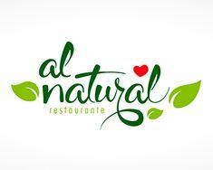 Al Natural Restaurant Restaurant Logo Design, Food Logo Design, Logo Food, Creative Logo, Food Company Logo, Fruit Logo, Typo Logo, Leaf Logo, Logo Design Inspiration