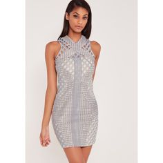 Missguided Carli Bybel Lace Cut Out Cross Neck Bodycon Dress ($80) ❤ liked on Polyvore featuring dresses, grey, grey dress, lace cocktail dress, mini dress, short bodycon dresses and grey cocktail dress