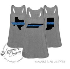 Southern Charm Designs - Thin Blue Line State Pride Top, Gray wideneck sweatshirt, size medium please!(http://www.shopsoutherncharmdesigns.com/thin-blue-line-state-pride-top/)