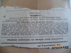 1920s News Clipping HARRY HOUDINI Handcuff King 1st Stage Show of Submerged Box