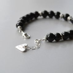 Onyx Bracelet, Black Onyx and Silver Bracelet, Handcrafted Jewelry, Beaded Bracelet Black