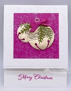 Stamped Christmas Cards, Stampin Up Christmas, Christmas Cards To Make, Christmas Bells, Pink Christmas, Xmas Cards, Simple Christmas, Handmade Christmas, Christmas 2019