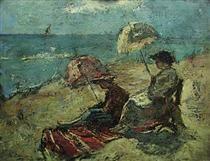On the Falaise, Under the Umbrella - Gheorghe Petrascu Venice Biennale, Post Impressionism, Art Database, Modern Art, Inspiring Art, Painters, Contemporary Art, Contemporary Artwork