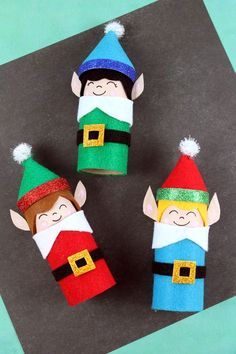 Easy Kids Christmas Crafts Recycled Toilet Paper Tube throughout Elf Paper Crafts Elf Christmas Decorations, Kids Christmas Ornaments, Christmas Crafts For Kids, Simple Christmas, Christmas Art, Craft Decorations, Homemade Christmas Crafts, Xmas, Diy Decoration