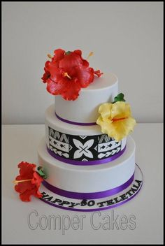 Very special cake for Teletala. Hand painted samoan patterns represents love and family. Sugar hibiscus represents all children. Happy Birthday Teletala.