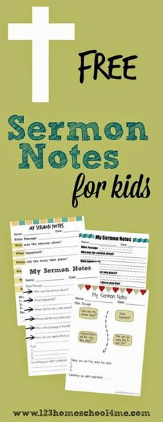 FREE Printable Sermon Notes for Kids! Several different style for kids from K-6th grade can use with any sermon to listen to Bible stories. Great resource for Christian families or to give out in Sunday School Lessons.