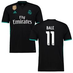 Gareth Bale Real Madrid adidas Youth 2017 18 Away Replica Patch Jersey -  Black 4bc1e081c