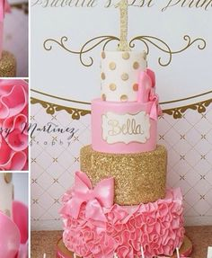 Pink, gold, cake,birthday,one