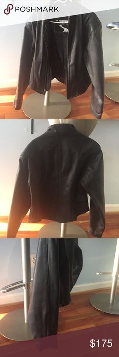 Black leather jacket Small Cropped leather jacket w zip down sleeves and zipper front.  Brand new worn 4-5 times Black Hills  Jackets & Coats