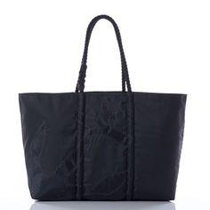 Sea Bags: Black on Black Anchor Zip Top Tote
