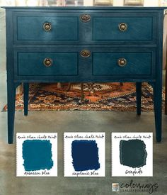 Layering chalk paint with Annie Sloan chalk paint. Painted furniture ideas and chalk paint custom colors. How to mix AS chalk paints. Annie Sloan Chalk Paint Aubusson Blue, Annie Sloan Painted Furniture, Annie Sloan Paints, Annie Sloan Chalk Paint Colors, Blue Chalk Paint, Refinished Furniture, Paint Colours, Wall Colors, Repurposed Furniture