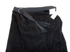 NWT Style & Co Long Black Skirt w/Belt Modest No Slit Very Fine Corderoy #StyleCo #ALineLong