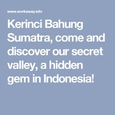 Kerinci Bahung Sumatra, come and discover our secret valley, a hidden gem in Indonesia!