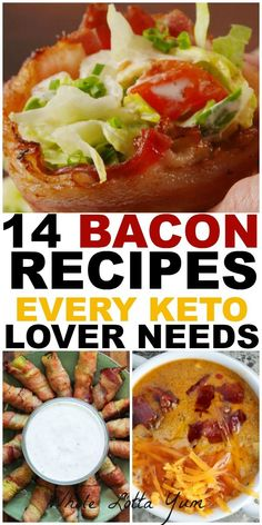 keto recipes every bacon lover needs! Whether you're looking for keto breakfast recipes, lchf recipes or are just a bacon lover, you need these bacon recipes in your life. Keto Foods, Keto Diet Drinks, Ketogenic Recipes, Diet Recipes, Delicious Recipes, Lchf Recipes Lunch, Bacon Recipes Healthy, Soup Recipes, Quark Recipes