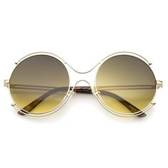 Women s Fashion Wire Rimmed Temple Cutout Round Oversized Sunglasses 58mm 0fcc9c9dc26f