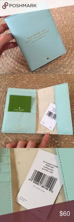 Kate Spade Passport Holder Beautiful blue color! Has slots to put several cards or notes in. kate spade Accessories