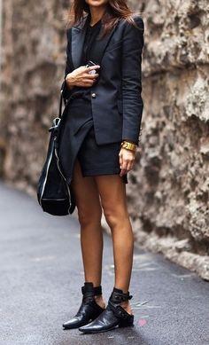 Black blazer and mini black skirt
