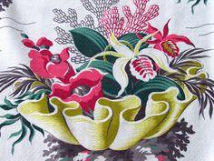 1930's Underwater Life Sea Anemones Orchids Vtg Barkcloth Fabric Drape Curtain | eBay