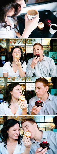 Cute cupcake engagement - Some Crust Bakery - http://studioelevenweddings.com/