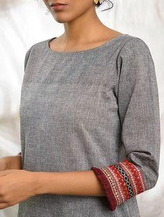 Buy GHUMAKKAD - Grey Cotton Kurta with Raw Edge Hem and Top Stitch Online at Jaypore.com Shopping Coupons, Kurta Designs, Stunning Dresses, Raw Edge, Summer Sale, Kurti, Gray Color, Men Sweater, Stitch
