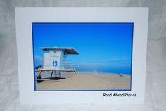 Photo card, Huntington Beach, lifeguard tower photograph