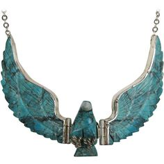 Zuni Sterling Silver Flying Eagle Necklace Pendant Tribal Turquoise ($2,400) ❤ liked on Polyvore featuring jewelry, necklaces, accessories, multiple, eagle necklace, turquoise necklace, sterling silver jewelry, tribal necklace and turquoise jewelry