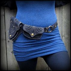 Utility Belt Black Canvas ~ Vegan Burning Man Festival Fusion Fashion ~ inspired by Goddess Saraswati ~ adjust small to extra large XL