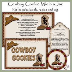 Make your own Cowboy Cookie Mix in a Jar  Label by SuzieQsCrafts, $2.00