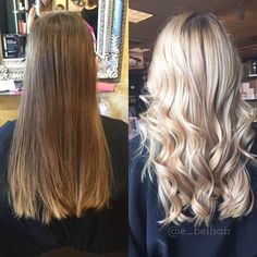 Before and after a full head of blonde balayage