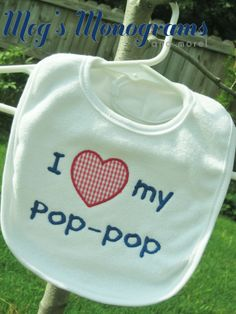 Custom made bib! This can say anything you want it to say. I (heart) my cousin, aunt, uncle, grandma, grandpa, etc! www.etsy.com/shop/megsmonogramsandmore www.facebook.com/megsmonograms.andmore