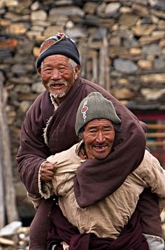 Hearty old friends . Tibet
