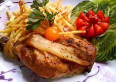 """""""Józsi Konyhája"""" Kautz József receptjei. Kautz József Csirkecomb receptjeit kínálja a Kedves Látogatóknak. A tálalásából is sokat lehet tanulni. Baked Potato, Turkey, Potatoes, Chicken, Meat, Baking, Ethnic Recipes, Minden, Food"""