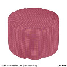 Tiny Red Flowers on Red Pouf