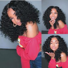 Curly Wigs Human Hair Lace Frontal Wigs with Baby Hair Pre-Plucked Brazilian Remy Hair for Black Women Curly Hair Styles, Natural Hair Styles, Braid Out Natural Hair, Natural Hair Blowout, Curly Bob Wigs, Curly Weaves, Wig Bob, Curly Braids, Short Wigs