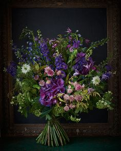 Natural bouquet in purples, pinks & lavender by Scarlet & Violet