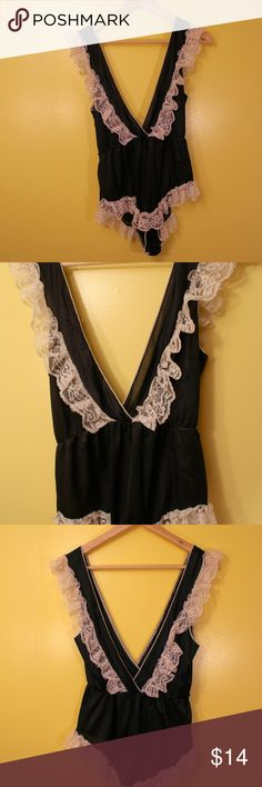 Vintage Black Satin Nightie Nighty Lingerie 70s 70s or 80s  Black, onesie, lace, v neck This piece would be so cute at a festival or with high waisted pants or shorts.   Size s/m Vintage Intimates & Sleepwear Chemises & Slips