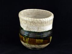 Raku Pot with Lace edge detail by WheelofLightStudio on Etsy