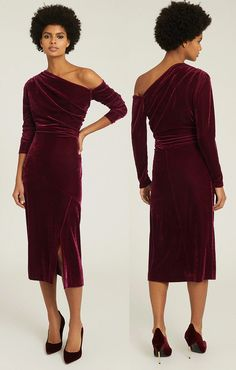Burgundy Velvet Dress for Winter Wedding. What to wear to a Winter Wedding. Winter Wedding Guest dress. If you're attending a winter wedding, the number of colour combinations are more than you thought. Don't be restricted to dark neutrals and simple shapes. Flatter the bride and groom, showing them you've been creative with your efforts for their big day. Experiment with new shapes and wintry colours. All jewel colours work well in winter, or the colours of fallen leaves.