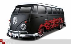 Matte black VW Bus with gloss flames