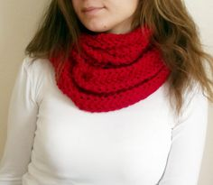 Christmas Gift Red  Hand Knit Infinity Scarf by HeraScarf on Etsy