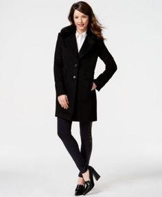 DKNY Faux-Fur-Collar Wool-Blend Walker Coat