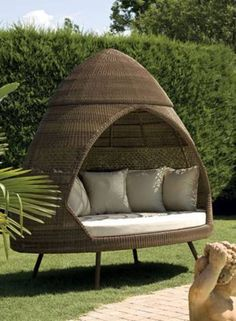 """Alexander Rose said """"This classic retro style woven furniture began with the inspired egg shaped armchair and the name ovo is translated from the Portuguese word for egg"""".These modern outdoor huts are made of high-quality Viro synthetic fiber, woven over a powder-coated aluminum frame that offers durability in all weather."""