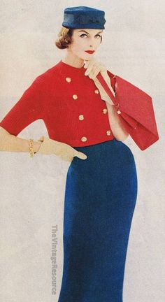 Color Blocking, Fashion 1950's. See, even the use of two primary colors can make an out fit stand out. The use of gold | yellowish colored buttons, as an accent, could count as the third primary color. This attire is just stunning in its simplicity and design.