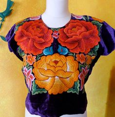 Collectors - Mexican embroidered Tehuana huipil purple velvet  - Oaxaca - Frida Style on Etsy, Sold