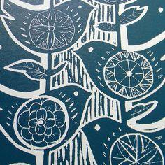 Lino Print in blue & white
