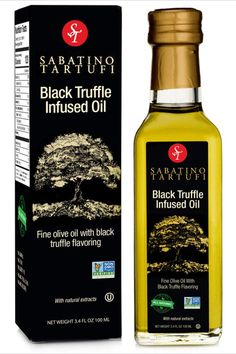 Sabatino Tartufi All Natural Black Truffle Infused Olive Oil - Made From Black Truffles, Vegan, Vegetarian, Kosher, Non-Gmo Project Verified, 3.4oz. Gourmet truffle oil made with the highest quality black truffle flavor made from actual black truffles. Sabatino all natural white truffle oil is great to use as a marinade, seasoning or salad dressing. Drizzle on pasta, pizza and risotto. Of course use your imagination for more use. White Truffle, Truffle Oil, Balsamic Vinegar Of Modena, Natural Spice, Italian Spices, Infused Oils, Best Appetizers, Drying Herbs, Truffles