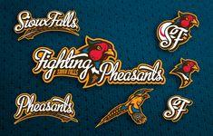 Sioux Falls Fighting Pheasants Baseball Sports Logo Branding Design