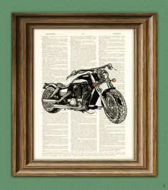 2011 Harley Davidson Motorcycle upcycled vintage by collageOrama,