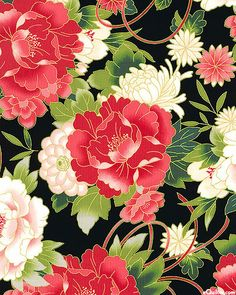 Flowers make the nicest paintings. Love this style of art. Japanese Textiles, Japanese Patterns, Japanese Design, Japanese Paper, Japanese Fabric, Asian Fabric, Oriental Print, Japan Art, Nihon